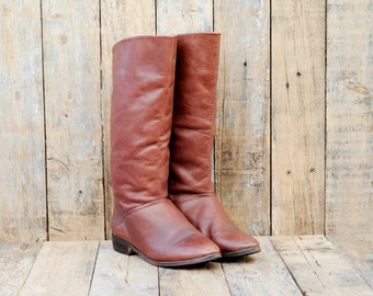 Womens Leather Boots, Us 10, Uk 8, Eu 41, Brown Leather Boots, Leather Riding Boots, Brown Riding Boots, Wide Calf Boots, Low Heel Boots