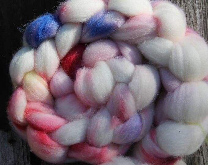 Kettle Dyed Falkland Wool Top.  Soft and easy to spin. 4oz  Braid. Spin. Felt. Roving. F156