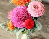 Sola flower bouquet, sola wood flower centerpiece, home decor, vase of zinnia sola flowers in vintage milk glass vase, zinnia bouquet