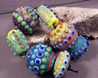 Handmade Lampwork Bead Set by Monaslampwork - Dotted Enamels - Multiple dots, enamels, and color Handmade by Mona Sullivan Glass Tribal Boho