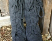 Handmade lace up knee high Boots in Gray with Black leather soles
