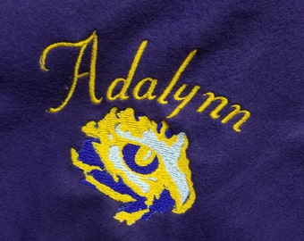 Personalized Deep Purple Blanket with the Eye of the Tiger Embroidery