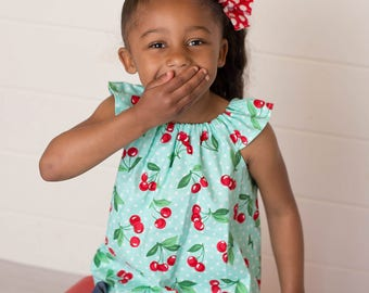 Baby Cherry Top - Baby Top -  Baby Peasant Top -  Baby Shirt -  Toddler Summer Shirt -  Baby Cherry Shirt - Baby Summer Clothes - Cherry