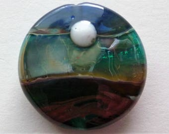 "Handmade Art Glass Lampwork Bead Landscape Moon 30 mm Focal by Carabeads ""Moonscape"""