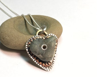 beach rock heart necklace. silver and copper. handmade. one of a kind