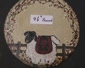 Sheep with Fence \ Heart and  Berry Vine  Canvas Candle Mat Hand Painted by Cheryl