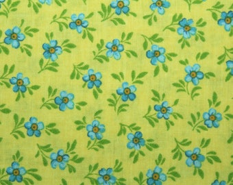 Blue Flowers, Fabric, Floral Fabric, Cotton Fabric, Quilting Fabric, Sewing Fabric, Fabric Traditions, Yellow Background, FQ, By The Yard