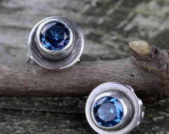 Blue zircon sterling silver stud earrings