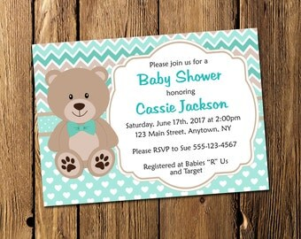 Printable Turquoise Teddy Bear Baby Shower Personalized Invitation