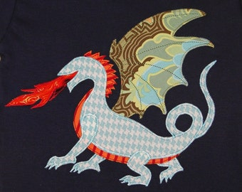 Personalized Dragon on Navy Top, Dragon Party, Kids Dragon Top, Camp Shirt, Medieval Party, Medieval Dragon Shirt, Dragon Gift, Dragon Shirt