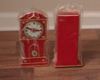 2 Vintage Christmas flocked grandfather clocks