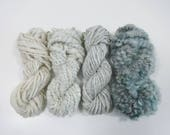 Sea Mist Handspun Art Yarn Knitting Weavers Pack 4 Mini Skeins Collection light blue dusty teal cream taupe