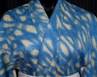 Vintage Japanese Woman's Kimono Robe - Blue Skies
