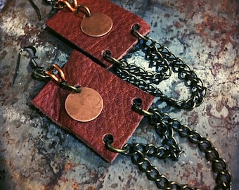 Copper and Leather earrings boho style