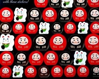 Lucky Cat Stickers - Dharma Doll Stickers - Traditional Japanese Stickers - Maneki Neko  S118