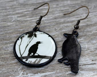Crow Earrings Raven Earrings Black Bird Earrings Halloween Earrings Dangle Metal Earrings Drop Metal Earrings Pierced Ears Costume Jewelry
