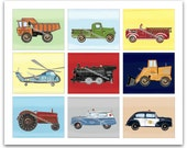 Transportation Nursery, Wall Art for Transportation Wall Art Decor, Color backgrounds, Boys Decor, Nursery Art, Baby Nursery Decor, 8 x 10