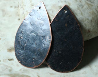 Hand hammered blackened antique copper drop dangle 42x25mm, 2 pcs (item ID XW01178ACB)
