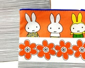 Handmade Miffy Fabric Purse / Make up bag  by Jane Foster  -  Dick Bruna fabric and red flowers