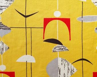 Panel of original Mid Century Modern 50s Atomic Marian Mahler fabric for vintage cushion or framing