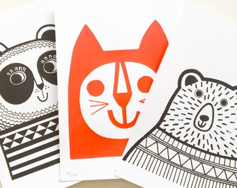 A4 Happy Animal Screen Prints by Jane Foster  - Happy Panda, Happy Cat or Happy Bear