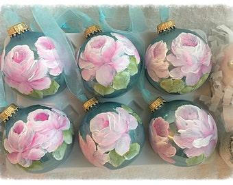 "2.5"" ORNAMENTS Hand Paintd Pink Roses Aqua Glass Round Ball ecs SVFTeam sct schteam"