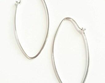 Silver Line Hoop Earrings, Thin Sterling Silver Earrings, Minimalist Line Earrings,  Thin Hoop Earrings.