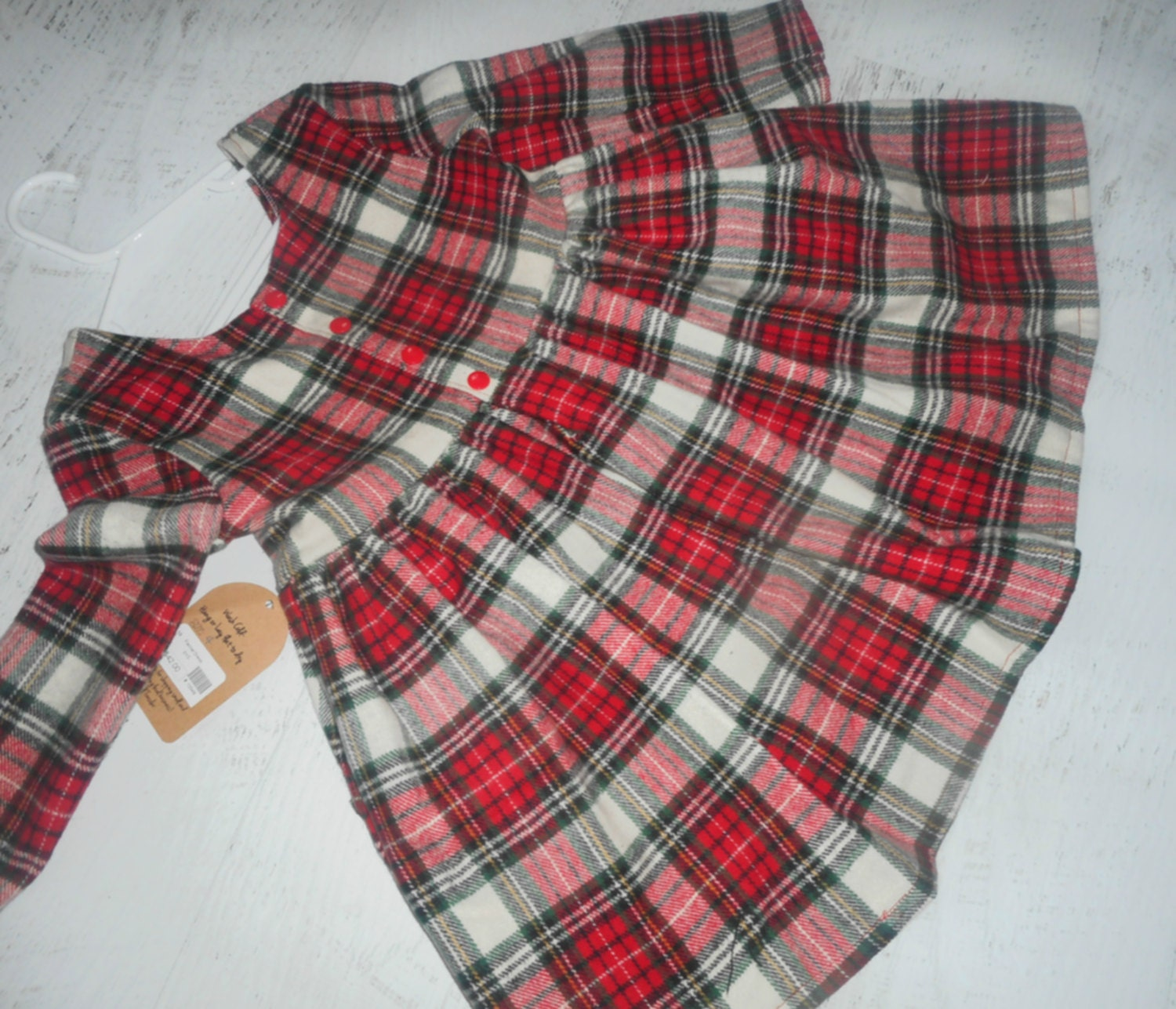Red Green White flannel plaid girls dress holiday dress party