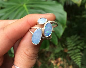 OPAL RING plain band // sterling silver // made to your size in byron bay // australian opal