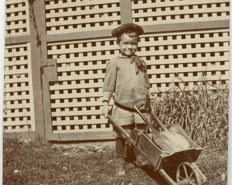 Vintage photo 1901 Darling Little Boy Pushes Wheelbarrow w Toys