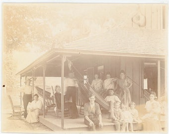 vintage photo 1908 The Family Klem Summer Cabin Mystery Roof Dwellers Owego New York