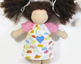 Waldorf doll clothes 10, 12 inch doll dress, pastel umbrellas cotton print