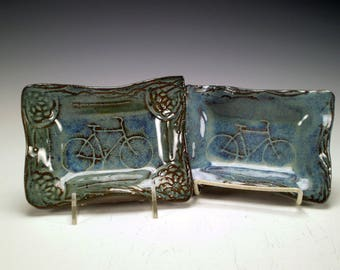 Bike Gift, Handmade Stoneware Pottery, Bike Plate, Bicycle Dish, Bike Lover Gift, Ceramic Tray