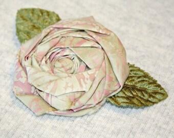 Fabric Rosette Flower Brooch  TEA ROSE Funky Boho Flower Doo dad