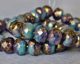 7x5mm Turquoise Tanzanite Czech Glass Beads Faceted Rondelle : 12 pc Antique Gold Czech Bead