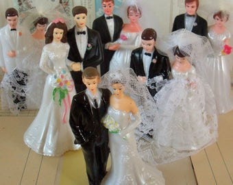 Vintage / Wedding Cake Toppers / Bride and Groom Couples / Six / Variety / Dessert Bar / Table Decorations