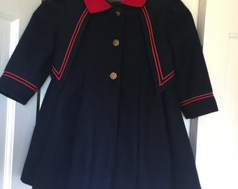 Girls Rothschild Coat, Navy with Red Trim, Size 3, Toddler Size, Winter Jacket, , Winter Apparel