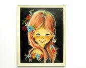 Vintage Big Eyed Art by Güell - Wall hanging Print in Plastic Frame - Sandgaard Denmark - Mod Art Collectible - Cute Girl Nursery Decor