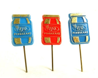 Set of 3 Vintage 60's Plastic Advertising Stick Pins, Ejo Peanut Butter Jars, 1960s Embossed Lapel Pin Lot, Dutch Collectibles Lot