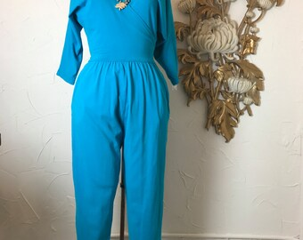 Fall sale 1980s jumpsuit teal jumpsuit 80s jumpsuit one piece pants size small Vintage jumpsuit vintage romper