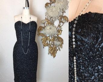 1980s dress vintage dress wiggle dress 80s dress Victor Costa dress strapless cocktail dress size small ribbon dress