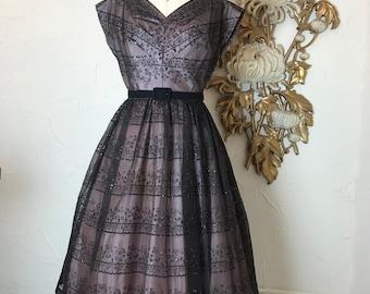 1950s dress chiffon dress party dress vintage dress size medium flocked dress sequin dress full skirt dress
