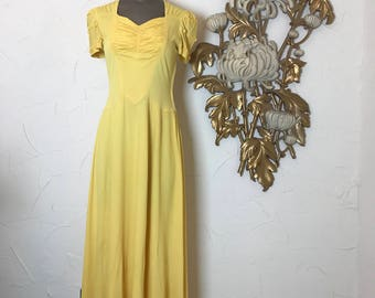 RESERVED 1930s gown yellow dress 1940s gown old Hollywood film noir dress vintage dress 1930s dress size small