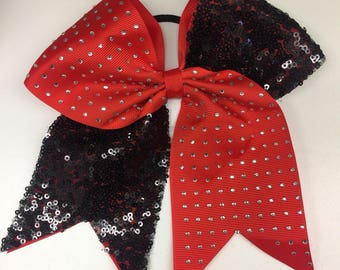 Cheer Hair Bow, Sequins Rhinestones, Large Hairbows, Tween Bows, Cheerleader Gifts, Competition Bling, Sparkly Ribbons, Barrette Teens,