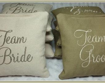 Team Bride Team Groom Cornhole Bags Wedding Set of 8 Cream and Tan