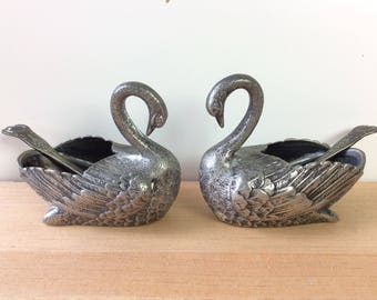 Vintage Swan Salt Cellar Pair - or Mini Planters! Open Salt or Sugar Bowls, Silverplate, with Spoons. Wedding Decor. Birds and Feathers.