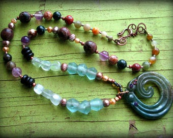 Infinity Wave Green Jasper Necklace - Work Eclectic Tribal Ethnic Chunky Boho Long Gift 40th 45th 50th 55th 60th 65th 70th 75th 80th