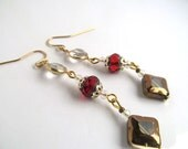 Holiday Earrings, Festive Jewelry, Christmas Dangles, Sparkling Drops, Red and Gold