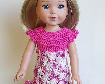 "14.5"" Doll Clothes Crocheted Pink and White Dress Handmade to fit the Wellie Wishers doll and other similar dolls - Pink and White Dress"