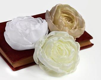Fabric Roses - wedding flowers, beige, cream, white silk flowers, wedding decor, bouquet flowers, corsage flowers, applique flowers